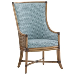 Balfour Woven Rattan Host Chair in Customizable Fabric