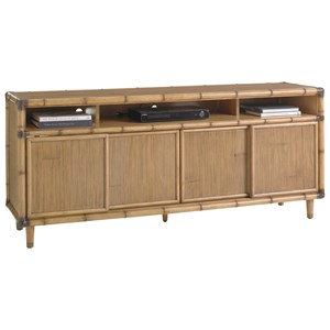 "Sea Crest 74"" Media Console with Sliding Bamboo Doors"
