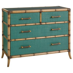 Raffia Accent Chest with Protective Glass Top