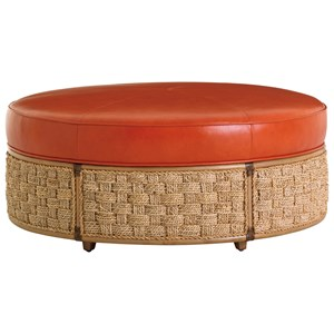 St. Barts Cocktail Ottoman with Woven Banana Leaf Detail