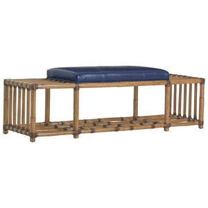 Seafarer Rattan Accent Bench with Cushioned Seat