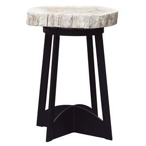 End Table with Petrified Wood Top and Black Metal Base