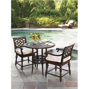 Outdoor Bistro Dining Set with 2 Swivel Counter Height Stools