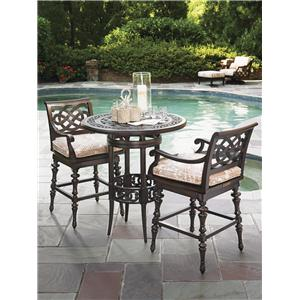 Outdoor Bistro Dining Set with 2 Swivel Bar Stools
