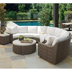 6 Seat Outdoor Curved Sectional Sofa with Weatherproof Box Cushions