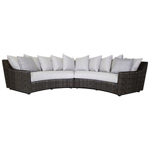 4 Seat Outdoor Curved Sectional Sofa with Weatherproof Box Cushions