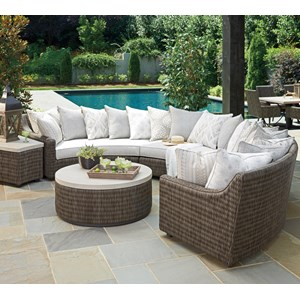6 Seat Outdoor Curved Sectional Sofa with Weatherproof Cushions and Scatterback Pillows