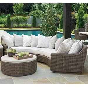 4 Seat Outdoor Curved Sectional Sofa with Weatherproof Cushions and Scatterback Pillows