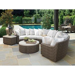 Outdoor Sectional Sofa Chat Set with Scatterback Cushions