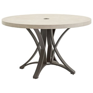 Outdoor Round Dining Table with Weatherstone Top