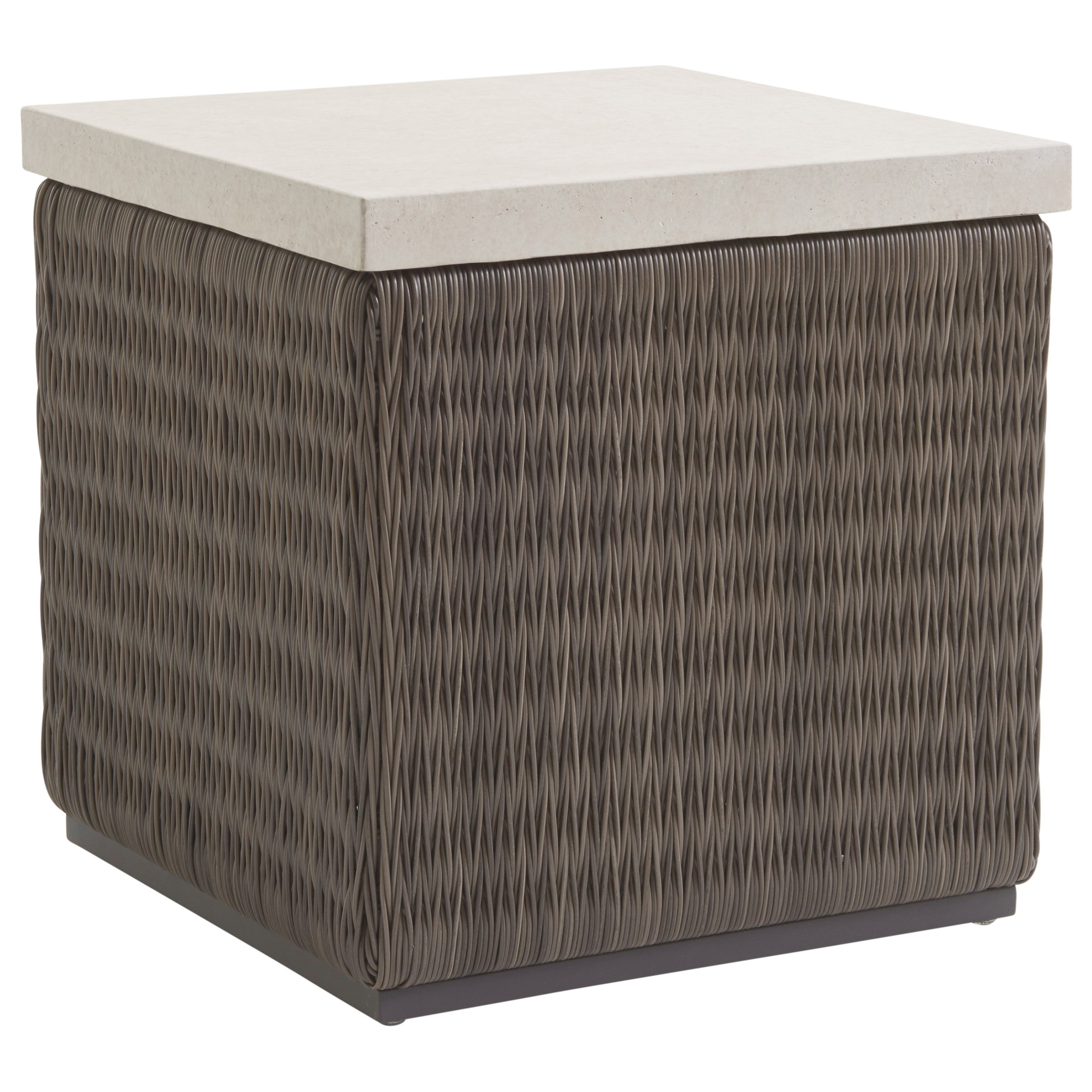 Cypress Point Ocean Terrace Outdoor Sq End Table with Weatherstone Top by Tommy Bahama Outdoor Living at Baer's Furniture