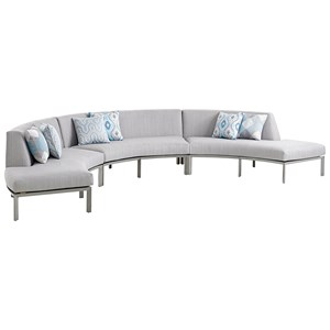 Three Piece Outdoor Curved Sectional Sofa