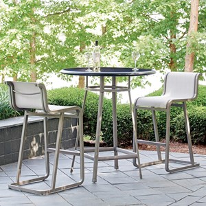 Outdoor Bistro Dining Set with Bar Height Stools