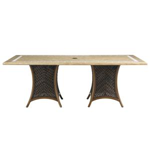 Outdoor Rectangular Double Pedestal Weatherstone Dining Table