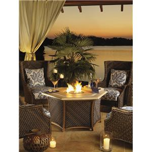 5 Piece Fire Pit Set with Wing Back Chairs
