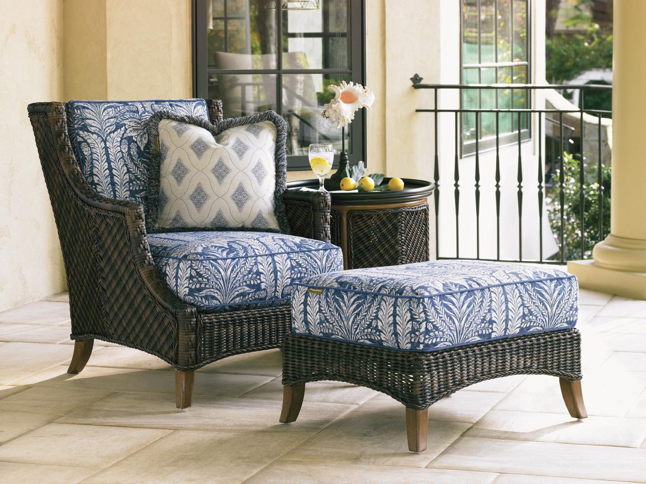 Island Estate Lanai Lounge Chair and Ottoman Set with Table by Tommy Bahama Outdoor Living at Baer's Furniture