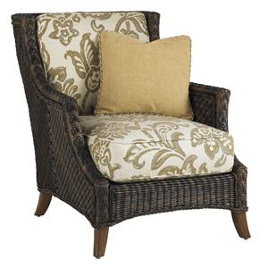 Outdoor Woven Wicker Lounge Chair with Throw Pillow