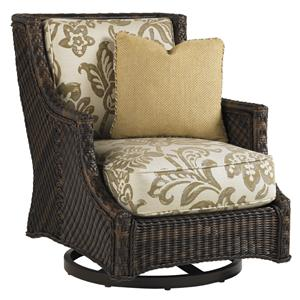 Outdoor Woven Wicker Swivel Lounge Chair with Throw Pillow