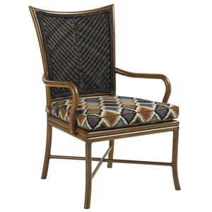Outdoor Woven Wicker Dining Arm Chair with Cushioned Seat
