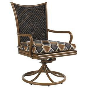 Outdoor Woven Wicker Swivel Rocker Dining Chair