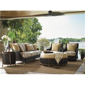 5 Piece Conversation Set with Boxed Edge Sofa and Swivel Lounge Chairs
