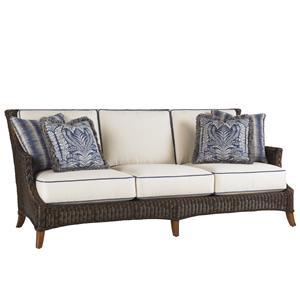 Outdoor Woven Wicker Boxed Edge Sofa with Throw Pillows