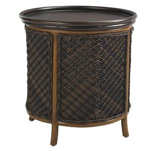Outdoor Round Tray End Table with Storage Room