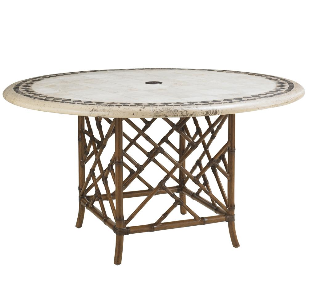 Island Estate Veranda Outdoor Stone Round Dining Table by Tommy Bahama Outdoor Living at Malouf Furniture Co.