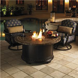 3 Piece Fire Pit Set with Swivel Lounge Chairs