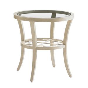 Round End Table with Inset Glass Top
