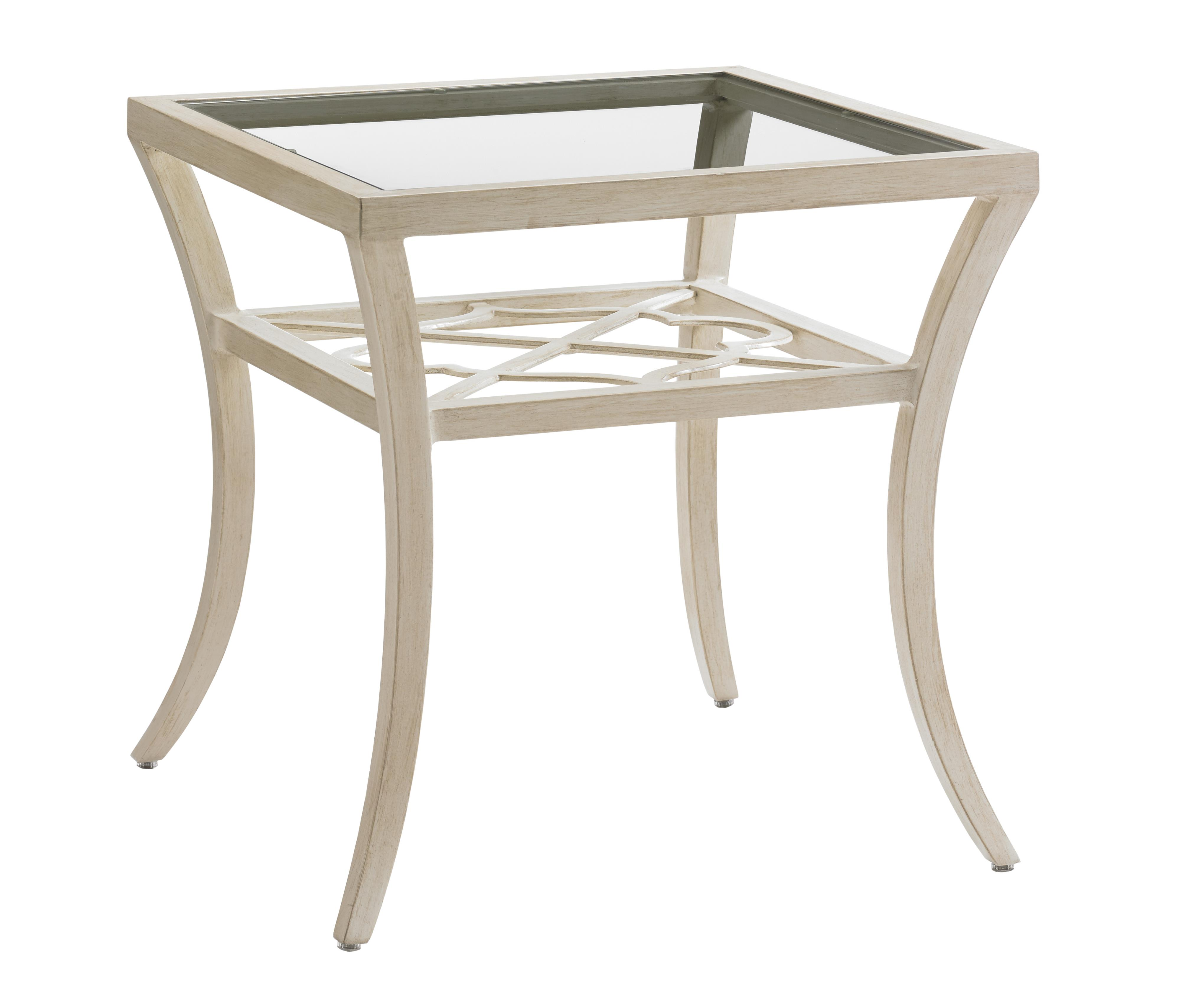 Misty Garden Square End Table with Inset Glass Top by Tommy Bahama Outdoor Living at Baer's Furniture