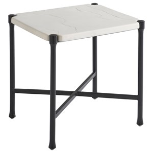 Outdoor Rectangular End Table with Limestone-Like Top