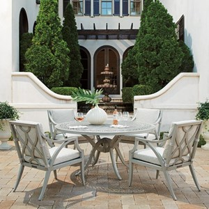 5-Piece Outdoor Dining Set w/ Round Table
