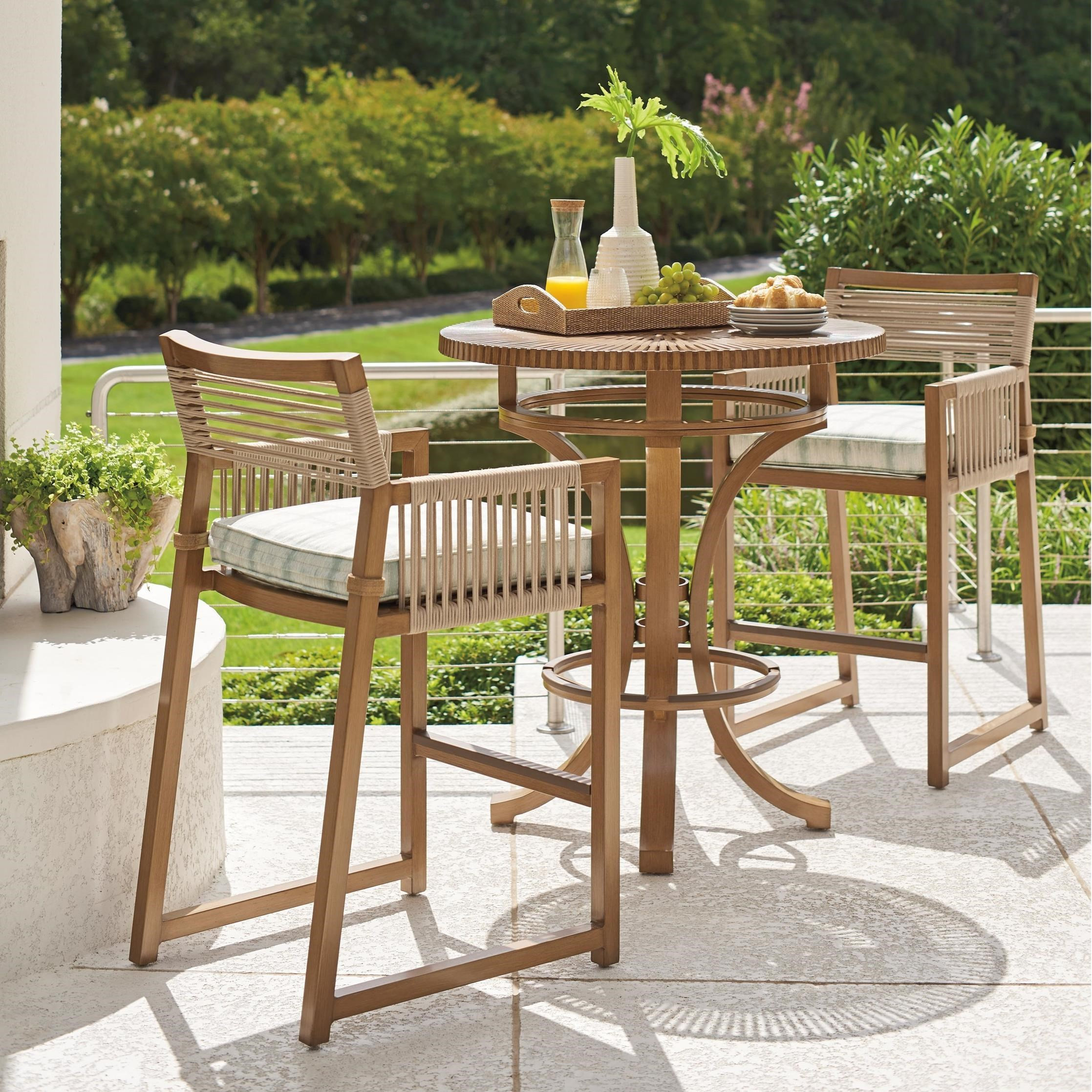 St Tropez 3-Piece Outdoor Bistro Set w/ Bar Stools by Tommy Bahama Outdoor Living at Baer's Furniture