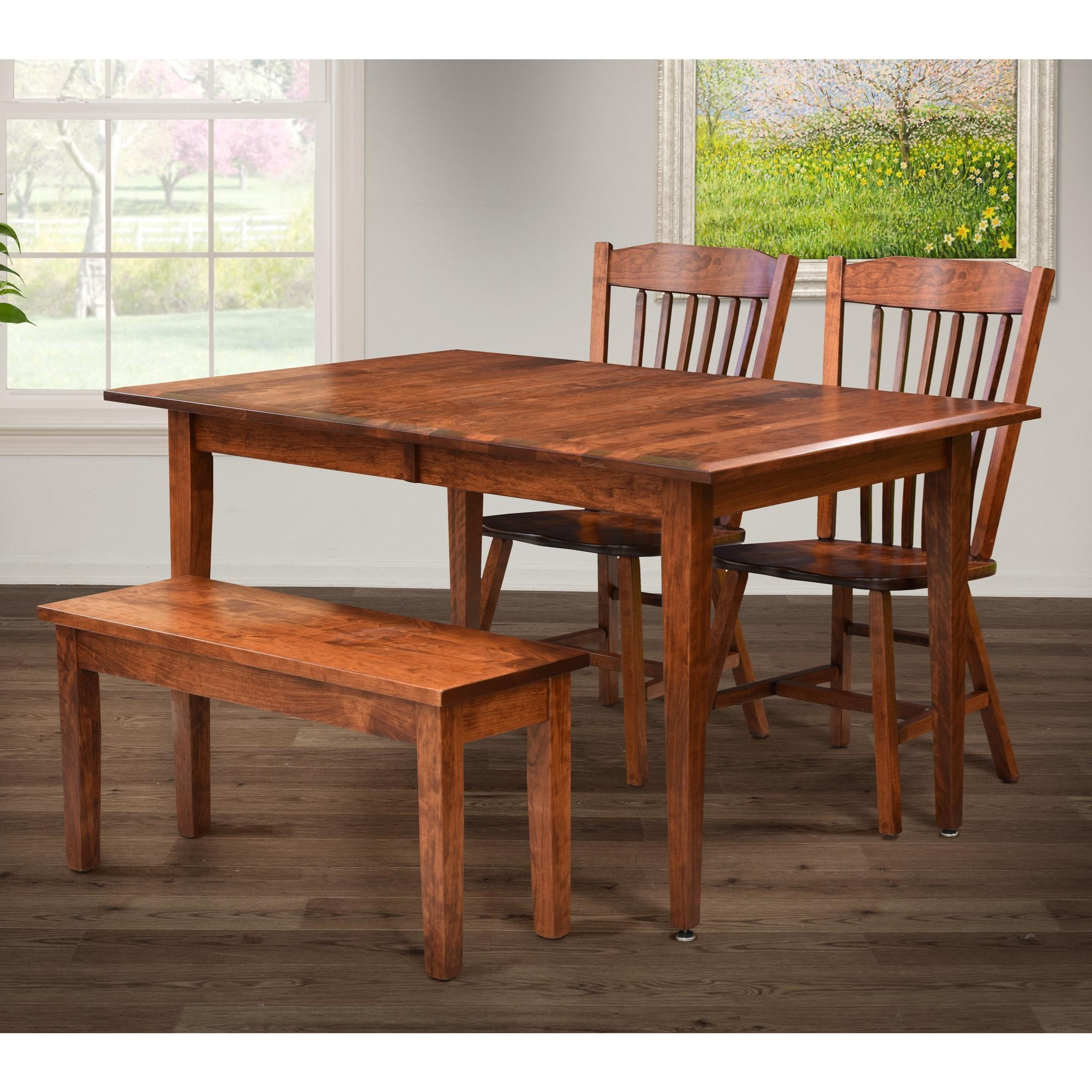 Santa Monica Table and Chair Set with Bench by Trailway Wood at Lucas Furniture & Mattress