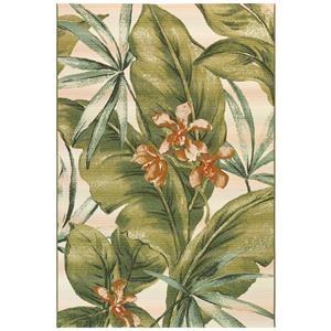 """Tropical Leaf Indoor/Outdoor 4'10"""" X 7'6"""" Ru"""