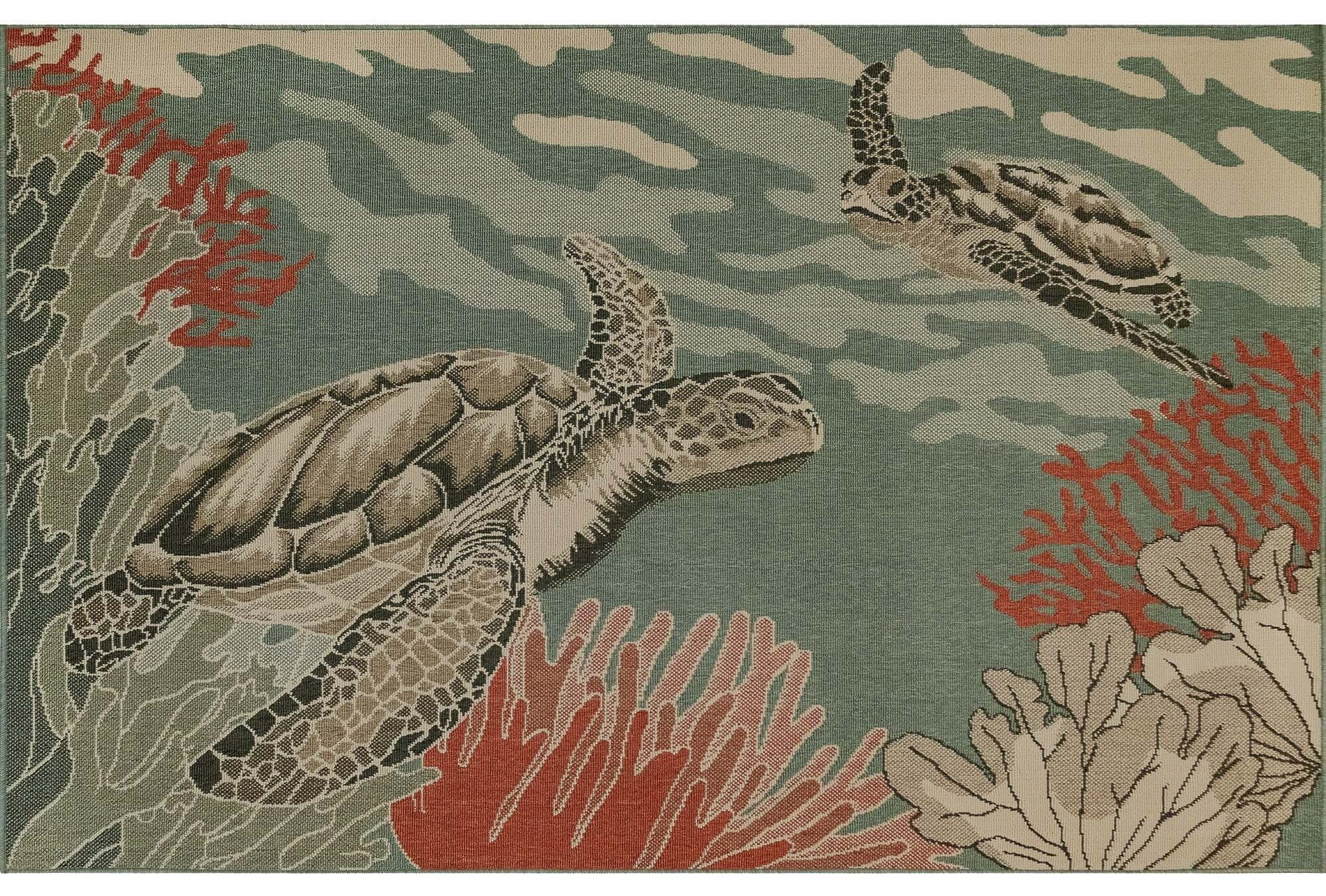 """Riviera Seaturtles Indoor/Outdoor 4'10"""" X 7'6"""" Rug by Trans-Ocean Rugs at Johnny Janosik"""