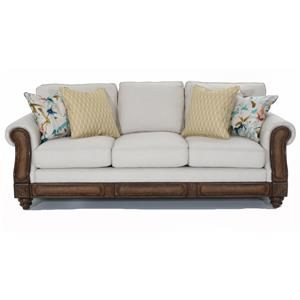 Rolled Arm Sofa with Rattan Detail