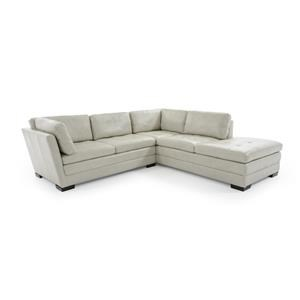 Two Piece Leather Sectional with Chaise and Tufted Seats