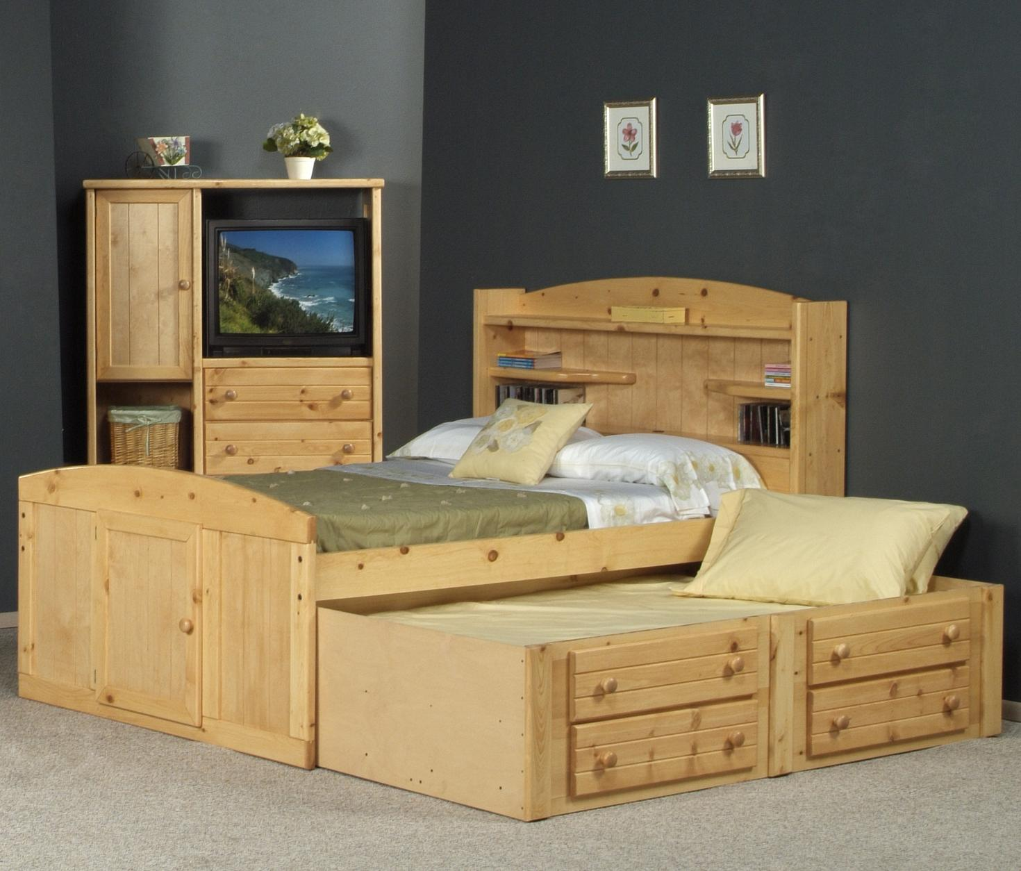 Bayview Full Palomino Bed with Trundle by Trendwood at Wilson's Furniture
