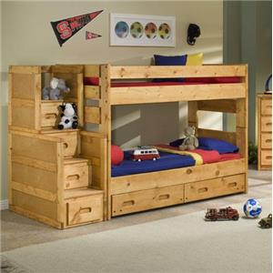 Trendwood Bunkhouse Twin Over Twin Wrangler Staircase Bunk Bed