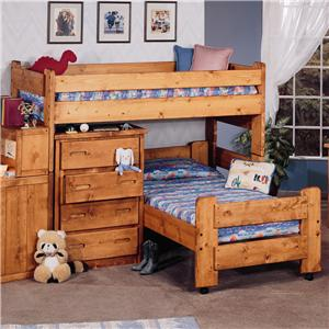 Trendwood Bunkhouse Twin/Twin Apache Loft Bed & Caster Bed