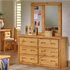 Trendwood Bunkhouse 6 Drawer Dresser & Landscape Mirror