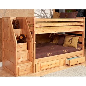Twin/Twin Bunk Bed with Drawer Staircase and Underbed Storage