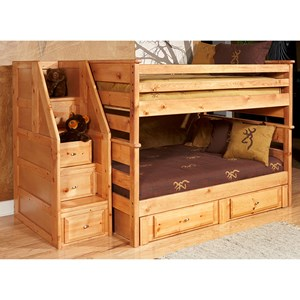 Full/Full Bunk Bed with Drawer Staircase and Underbed Storage