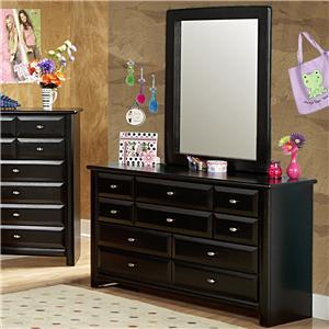 Nine Drawer Dresser and Mirror Set