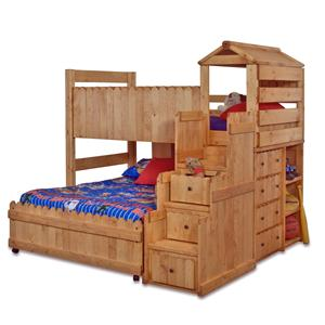 Twin/Full Complete Loft Fort Bed with Stairway Chest