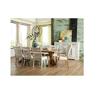 9 Piece Rectangular Dining Room Extension Table, 2 Upholstered Arm Chairs, 4 Upholstered Side Chairs and 2 Cabinets Set