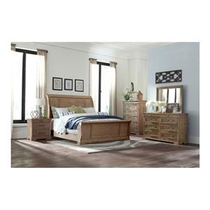 King Sleigh Bed, Dresser, Mirror and Nightstand Package