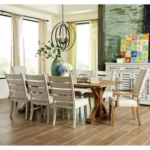 Nine Piece Dining Set with Homecoming Dining Table and Upholstered Host Chairs